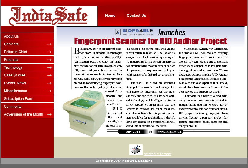 BioEnable BioScan10 in Fire & Safety India