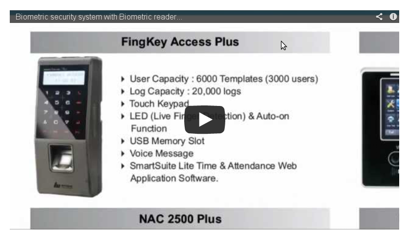 Biometric security system with Biometric reader and ...