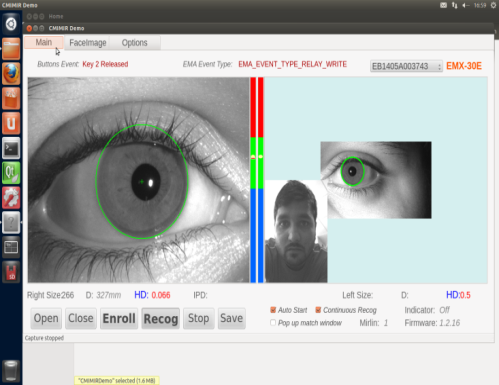iris scanner screen shot